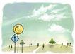 修饰背景0018,修饰背景,彩绘人物情景模板,路标 右拐 日出 倒影 碧空
