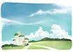 修饰背景0019,修饰背景,彩绘人物情景模板,晴朗 楼房 城堡 云朵 阳光