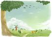 修饰背景0020,修饰背景,彩绘人物情景模板,秋天 田野 风车 磨房 落叶