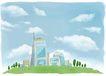 修饰背景0021,修饰背景,彩绘人物情景模板,城市 山坡 绿化 玻璃 漫画
