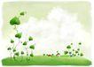 修饰背景0024,修饰背景,彩绘人物情景模板,植物 奇怪 小屋 叶片 桃形