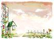 修饰背景0027,修饰背景,彩绘人物情景模板,篱笆 花园 花门 花房 新屋