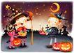 儿童成长0001,儿童成长,彩绘人物情景模板,月亮 魔法师 精灵 糖果 南瓜灯