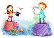 儿童成长0002,儿童成长,彩绘人物情景模板,魔术 扑克 小鸟 快乐 表演