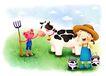 儿童成长0003,儿童成长,彩绘人物情景模板,奶牛 牛奶 牧场 牧童 汗水