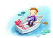 儿童成长0005,儿童成长,彩绘人物情景模板,男孩 划船 漫画 悠闲 蓝色湖水
