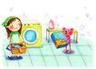 儿童成长0007,儿童成长,彩绘人物情景模板,家务 洗衣机 洗衣粉 勤劳 温馨