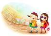 儿童成长0010,儿童成长,彩绘人物情景模板,购物 逛街 两个女孩 太阳镜 城市