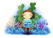 儿童成长0013,儿童成长,彩绘人物情景模板,鱼缸 养鱼 微笑 开心 成长