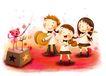 儿童成长0015,儿童成长,彩绘人物情景模板,演奏 指挥 队伍 笛子 小提琴