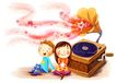 儿童成长0017,儿童成长,彩绘人物情景模板,音乐 美妙 陶醉 花朵 音乐播放器