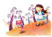 儿童成长0018,儿童成长,彩绘人物情景模板,夜晚 迷路 萤火虫 吃惊 女孩