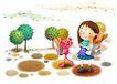 儿童成长0020,儿童成长,彩绘人物情景模板,回家 面包 仙人球 沙漠 愉快