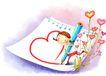 儿童成长0021,儿童成长,彩绘人物情景模板,信纸 爱情 情书 彩笔 动人