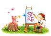 儿童成长0024,儿童成长,彩绘人物情景模板,绘图 模特 彩蝶 画板 颜料