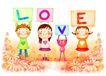 儿童成长0025,儿童成长,彩绘人物情景模板,字母 LOVE 爱心 花朵 四个孩子
