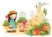 儿童成长0028,儿童成长,彩绘人物情景模板,小女孩 野花 晴天 路边 爱心
