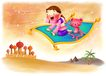 儿童成长0029,儿童成长,彩绘人物情景模板,飞毯 城堡 惊奇 魔术 沙漠
