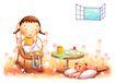 儿童成长0030,儿童成长,彩绘人物情景模板,看书的小女孩 窗户 娃娃