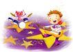 儿童成长0032,儿童成长,彩绘人物情景模板,玩耍 乐器 鼓