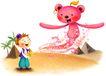 儿童成长0034,儿童成长,彩绘人物情景模板,飞舞 红色 小熊