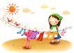 儿童成长0035,儿童成长,彩绘人物情景模板,头巾 太阳 晒衣服