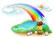 儿童成长0037,儿童成长,彩绘人物情景模板,彩虹 彩绘 山林