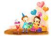 儿童成长0039,儿童成长,彩绘人物情景模板,汽球 礼品 开心