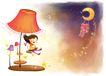 儿童成长0040,儿童成长,彩绘人物情景模板,月亮 夜空 台灯