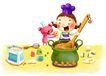 儿童成长0041,儿童成长,彩绘人物情景模板,煮东西 勺子 瓦罐
