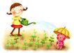儿童成长0042,儿童成长,彩绘人物情景模板,浇水 幼苗 种植