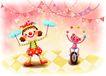 儿童成长0043,儿童成长,彩绘人物情景模板,舞台 耍杂技 小丑