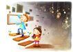 儿童成长0044,儿童成长,彩绘人物情景模板,台阶 壁画 铃档