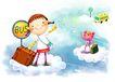 儿童成长0045,儿童成长,彩绘人物情景模板,Bus 公交车站 行礼