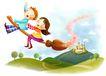 儿童成长0046,儿童成长,彩绘人物情景模板,飞行 扫帚 成长