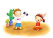 儿童成长0047,儿童成长,彩绘人物情景模板,体育 锻炼 仙人掌