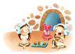 儿童成长0048,儿童成长,彩绘人物情景模板,朋友 待客 点心