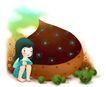 可爱小仙子0081,可爱小仙子,彩绘人物情景模板,孤独 独自 呆坐