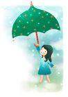 可爱小仙子0083,可爱小仙子,彩绘人物情景模板,绿伞 童真 梦想