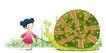 可爱小仙子0084,可爱小仙子,彩绘人物情景模板,牵着 蜗牛 脖子