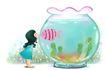 可爱小仙子0085,可爱小仙子,彩绘人物情景模板,玻璃 鱼缸 接吻