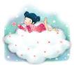 可爱小仙子0087,可爱小仙子,彩绘人物情景模板,趴卧 白云 幻想
