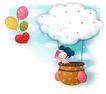 可爱小仙子0090,可爱小仙子,彩绘人物情景模板,热气球 飘浮 悬空