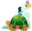 可爱小仙子0094,可爱小仙子,彩绘人物情景模板,乌龟 背上 玩耍