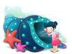 可爱小仙子0096,可爱小仙子,彩绘人物情景模板,巨大 海螺 窥视