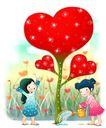 可爱小仙子0098,可爱小仙子,彩绘人物情景模板,摘种 红色 爱心