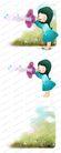 可爱小仙子0104,可爱小仙子,彩绘人物情景模板,女孩 吹嘘 喇叭花