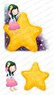 可爱小仙子0106,可爱小仙子,彩绘人物情景模板,黄色 五角星 赤脚