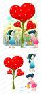 可爱小仙子0112,可爱小仙子,彩绘人物情景模板,红心 浇灌 洒水