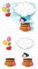 可爱小仙子0116,可爱小仙子,彩绘人物情景模板,悬浮 气艇 半空